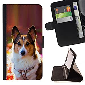 For HTC One M7 Corgi Rembroke Welsh Cardigan Dog Beautiful Print Wallet Leather Case Cover With Credit Card Slots And Stand Function