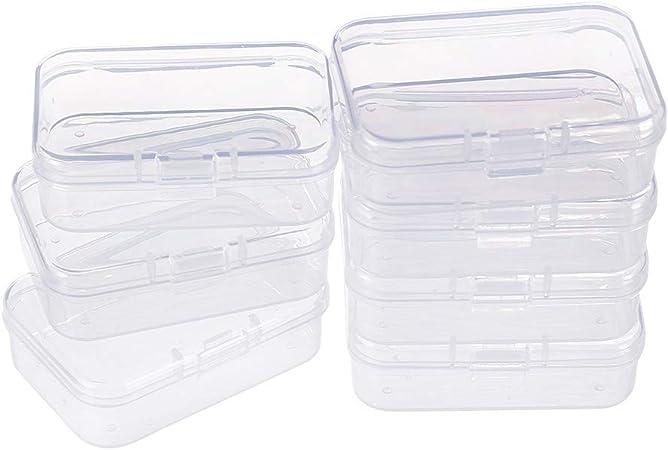 BENECREAT 18 Pack Rectangulos Caja de plastico Transparente con Tapas abatibles para articulos pequeños, Pastillas, Hierbas, Cuentas pequenas (6.4cmx4.4cmx2cm): Amazon.es: Hogar
