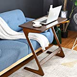 HOMFA Z-Shaped End Table TV Tray Bamboo Snack Laptop Desk Night Stand Couch Side Table Moveable Stand in Living Room for Eating Reading Working Home Office Furniture (Large)