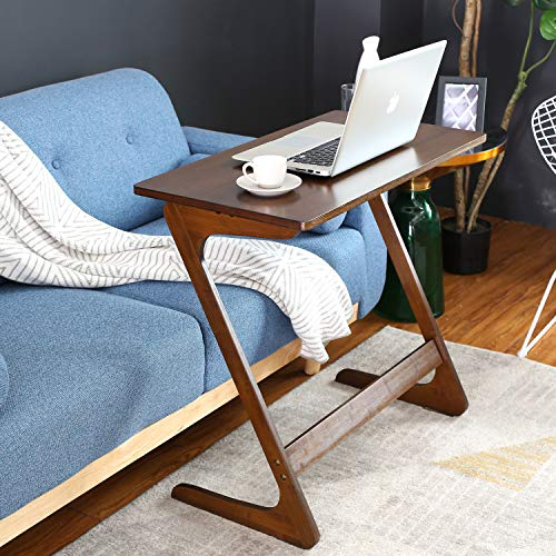 HOMFA Z-Shaped End Table TV Tray Bamboo Snack Laptop Desk Night Stand Couch Side Table Moveable Stand in Living Room for Eating Reading Working Home Office Furniture (Large) (Trays Unique Tv)
