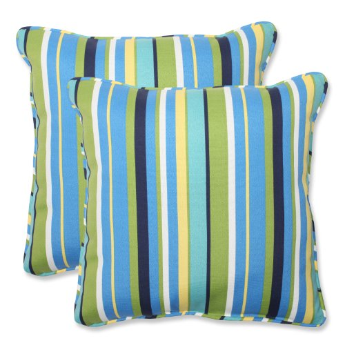 Pillow Perfect Outdoor Topanga Stripe Lagoon Throw Pillow, 1