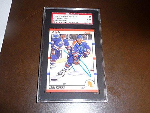 (1990 JARI KURRI EDMONTON OILERS HOF SIGNED HOCKEY CARD SGC AUTH SLABBED)