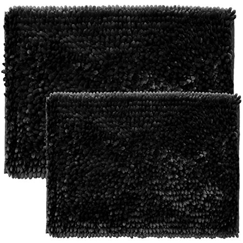 - Sweet Home Collection Bath Set 2 Piece Butter Chenille Noodle Soft Luxurious Rugs Absorbent Non Slip Latex Back Microfiber Bathroom Mat, ((1) 17
