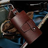 Leather Key Case Wallet Key Holder Wallet Key Pouch --7 Key Hooks and One Separated Car Key Ring and Zipped Compartments, Genuine Split (Brown)