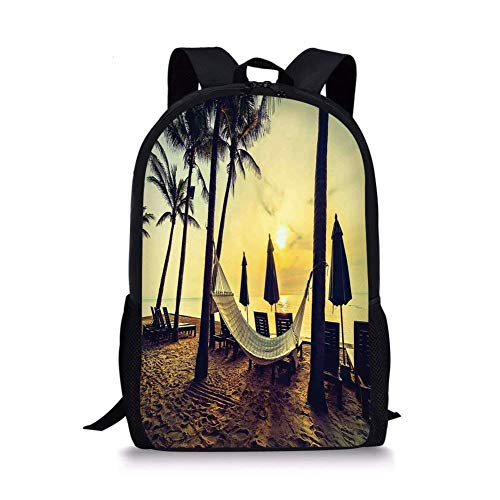 School Bags Tropical,Photo of Empty Hammock on the Beach at Sunrise Time with Coconut Palm Tree Exotic Print Decorative,Multi for Boys&Girls Mens Sport Daypack