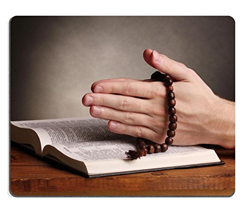 Liili Mouse Pad Natural Rubber Mousepad Hands holding wooden rosary over open russian holy bible on grey background Photo 12237726