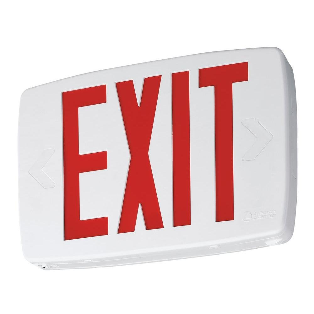 Lithonia Lighting LQM S W 3 G 120/277 EL N SD M6 Quantum Thermoplastic LED Emergency Exit Sign with Stencil-Faced White Housing and Green Letters with Nickel Cadium battery and Self Diagnostic