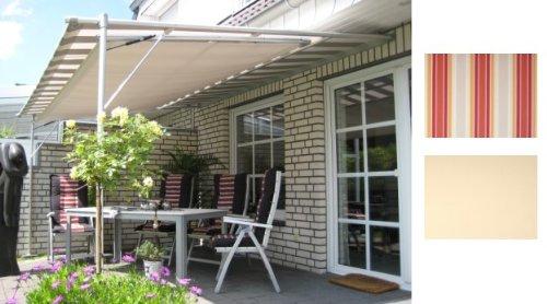 Leco Luxus Markise Vlexy Plus 3x4m Terrassenüberdachung Sonnenschutz rot gestreift