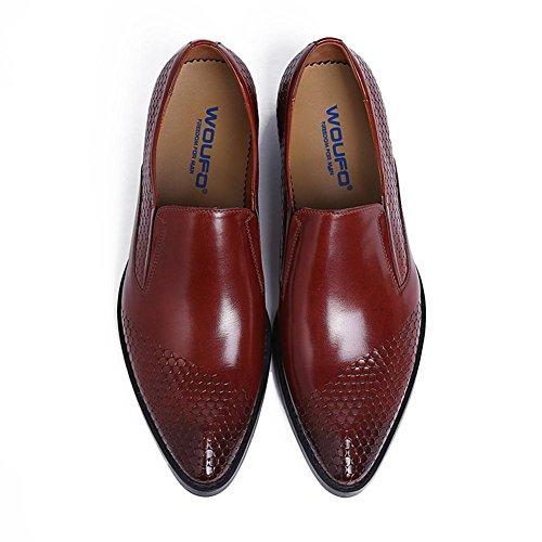 Formel Doigt Décontractée 38 sur Glisser Oxford Chaussures Confortable Mariage Hommes brown Robe 44 Entreprise Pointu pour pied Taille Cuir Hommes de marron Travail Noir WYqwv7fY