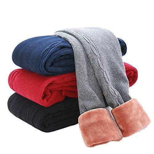 Tengo Girls Winter Thick Leggings Fleece Lined Warm Kids Leggings Pants(Red02,90) (Faucet 2 1)