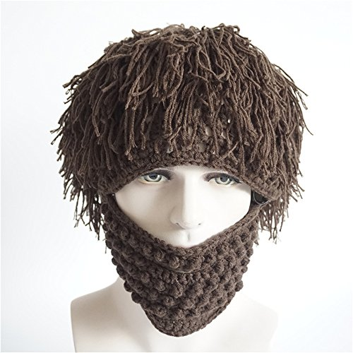 Funny Wig Beard Creative Acrylic Hand Woven Hobo Hat; Handmade Knit Beard Wig Hats Hobo Mad Hat; Warm Winter Caps Men Women Funny Party Mask Beanies (Brown)