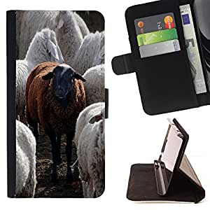 DEVIL CASE - FOR Apple Iphone 5C - Black Sheep Funny Animal Cute Furry - Style PU Leather Case Wallet Flip Stand Flap Closure Cover