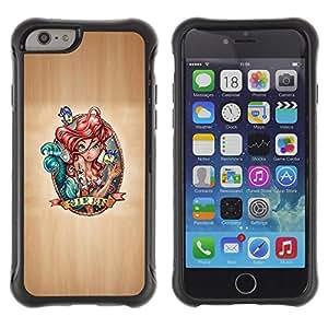 Suave TPU GEL Carcasa Funda Silicona Blando Estuche Caso de protección (para) Apple Iphone 6 / CECELL Phone case / / Fairytale Siren Art Red Hair Drawing Character /