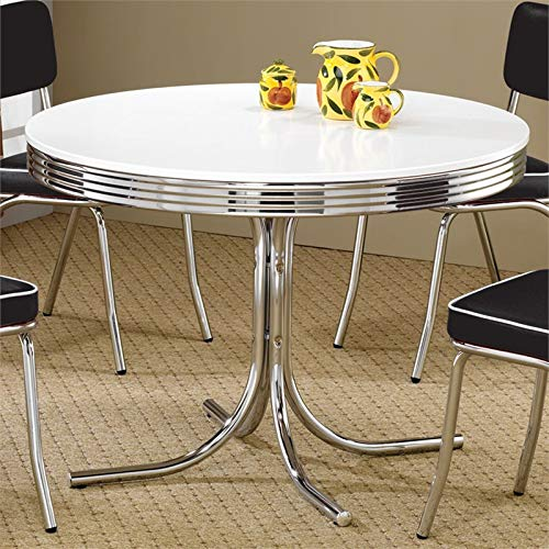 Retro Round Dining Table White and Chrome (Antique Table Round)