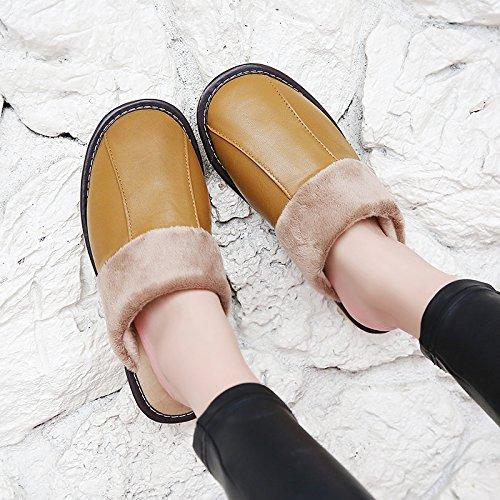 Salon Fankou Automne Hiver Pantoufles De Coton Intérieur Hommes Et Femmes Couples Maison Planchers De Bois Chaud Et Pantoufles D'hiver Crochet, 41-42, Jaune