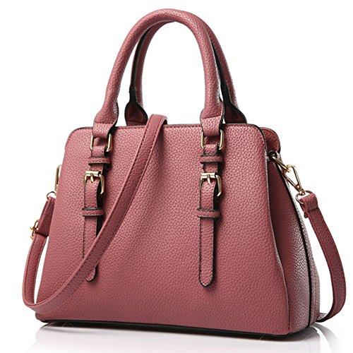 fanhappygo Fashion Retro Leder Damen Schulterbeutel Umhängetaschen Tote Taschen Abendtaschen rosa