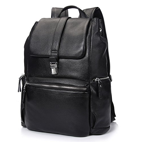 Canvas Rucksack Laptop Tablette Große High School / College Tasche Leder Trimm Tasche Reise Camping Rucksack Outdoor-Schultertasche Black