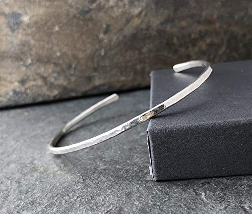 Sterling Silver Hammered Thin Cuff Stacking Bracelet