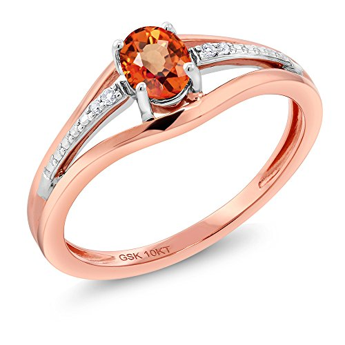10K Two Tone Gold 0.43 Ct Orange Sapphire and Diamond Engagement Ring