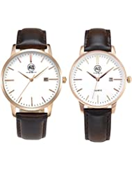 AIBI Couple Lovers Watch Rosegold Slim Leather Waterproof Watch with Date,40mm/34mm