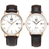 AIBI Couple Lovers' Watch Rosegold Slim Leather Waterproof Watch with Date,40mm/34mm