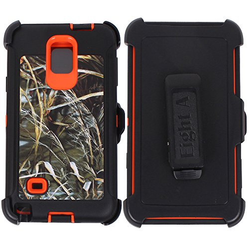 Galaxy Note 4 Case,Heavy Duty Defender Impact Rugged with Built-in Screen Protector Camouflage Case Cover for Samsung Galaxy Note 4 (Orange-Grass-Camo)