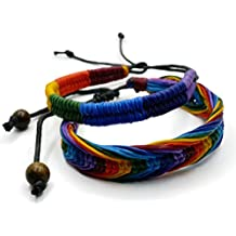 BrownBeans, Set of 2, Macrame Wax Cord Rainbow Style Gay LGBT Pride Adjustable Bracelets (CBCT6002)