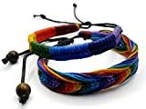 BrownBeans, Set of 2, Macrame Wax Cord Rainbow Style Gay LGBT Pride Adjustable Bracelets (CBCT6002) (Rainbow-A)