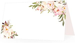 25 Pink Peony Floral Tent Table Place Card For Wedding Thanksgiving Christmas Holiday Easter Catering Buffet Food Sign Paper Name Escort Card Folded Number Seat Assignment Setting Label Banquet Party