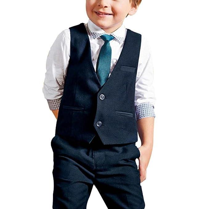 YOUJIA 4pcs Bimba Outfit Abbigliamento Veste + Cravatta + Pantaloni +  Camicia Shirts Tops per Smoking a3ca325b702