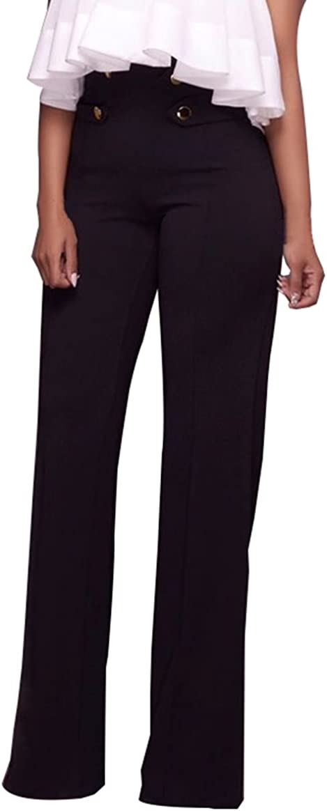 GUOLEZEEV Womens High Rise Elegant Fit and Flare Palazzo Pants with Buttons Embellish