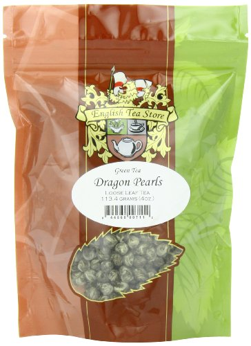 - English Tea Store Loose Leaf, Dragon Pearls Green Tea Pouches, 4 Ounce