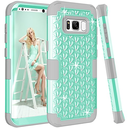 Diamond Samsung - Galaxy S8 Case, KAMII [Diamond Series] Shockproof 3in1 Hard PC+Silicone Hybrid Studded Rhinestone Crystal Bling Diamond Full Body Protection Case Cover for Samsung Galaxy S8 (Aqua+Grey)