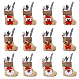 OurWarm 12PCS 3D Mini Christmas Stockings Linen Burlap Silverware Holders Felt Rustic Plaid Tableware Bags Santa Snowman Reindeer Pattern Dinnerware Cover Christmas Decorations Xmas Party Ornament