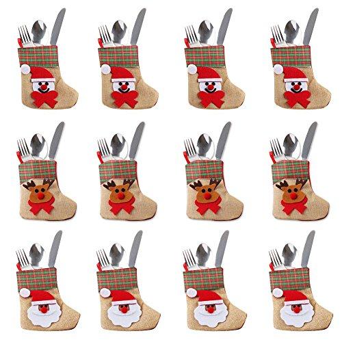 OurWarm 12PCS 3D Mini Christmas Stockings Linen Burlap Silverware Holders Felt Rustic Plaid Tableware Bags Santa Snowman Reindeer Pattern Dinnerware Cover Christmas Decorations Xmas Party Ornament by OurWarm