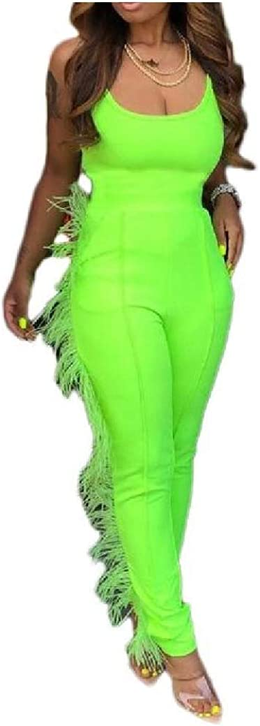 Mfasica Women Sleeveless Solid Color Low Waist Tassels Strap Romper Playsuit Jumpsuit