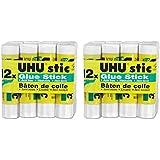 UHU Stic Permanent Clear Application Glue Stick, 0.29 oz, 12 Sticks per Pack (99450), 2 Packs