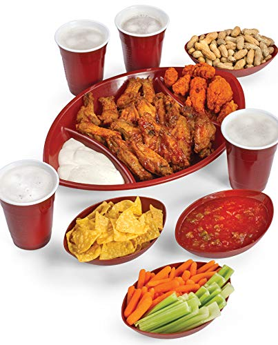 9 Piece Football Shape Game Day Serving Tray Set Includes Football Divided Tray, 4 Football Bowls, 4 Large Drink Beverage Cups]()
