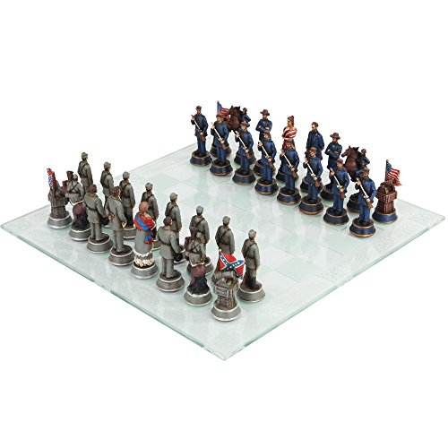 Figure Civil War Yankee North Against South Rebels Chess Pieces and Glass Board