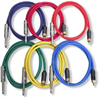 GLS Audio 2ft Patch Cable Cords - RCA To 1/4 TS Color Cables - 2 Pro Series Cord - 6 PACK