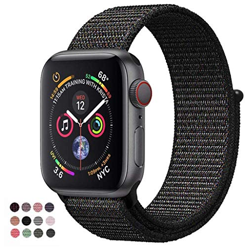 VATI Band Compatible Apple Watch Sport Loop Band, Wrist Strap Nylon Replacement Band Compatible Apple Watch 38mm Nike+, Series 3/2/1, Sport, Edition (38MM, Black - Pinkish Weave Color)