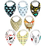 Organic Baby Bandana Drool Bibs by Smart Baby | Unisex Hypoallergenic and Ultra-Absorbent Triangle Scarves Set of 8 Gift-wrap Available + eBook with Smart Parenting Tips