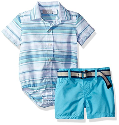 The Children's Place Baby Boys' Top and Shorts Set, Spearmint 79493, 3-6MONTHS (Striped Spearmint Green)