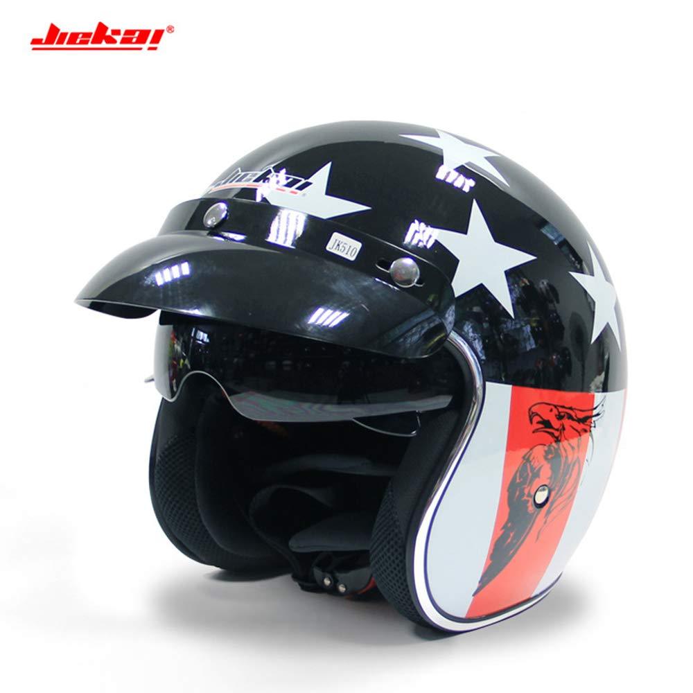 CXL Offener Helm Harley Helm halb überdachte Helm Unisex Doppel-Objektiv Elektroauto Vier Jahreszeiten Helm,Weiß,XXL