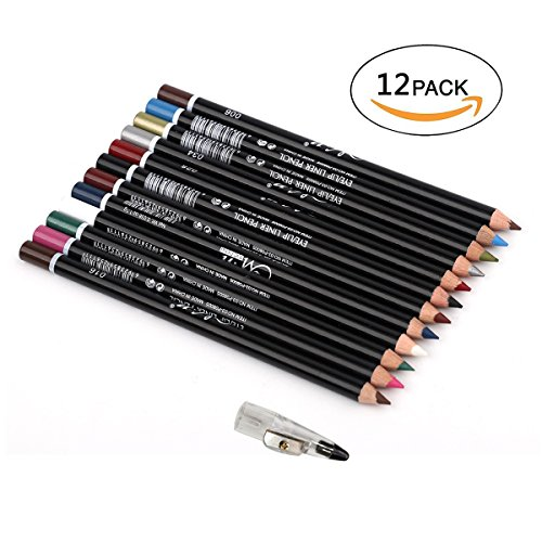 12Pcs Lot Set 12 Colors Eyeliner Pencil Waterproof Eyebrow Pencil Cosmetics with a Pencil Sharpene