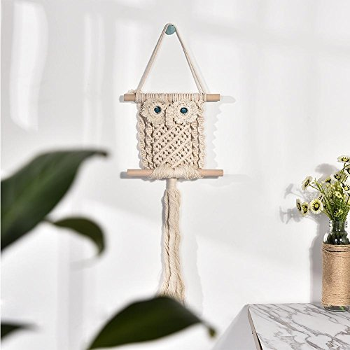 Macrame Woven Wall Hanging - Natural Color Cotton Rope Owl Pattern Tapestry Ornament Door Hanger Wall Decoration 22.83in7.87in ()