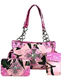 Zzfab Western Handbag with Cross Pink Camo Concealed & Carry Purse Set