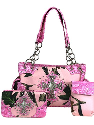 Zzfab Western Handbag with Cross Pink Camo Concealed & Carry Purse Set by Zzfab