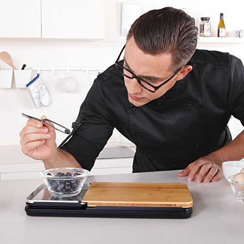 Food Scale With Removable Bamboo Cutting Board Amp Tray 3 In