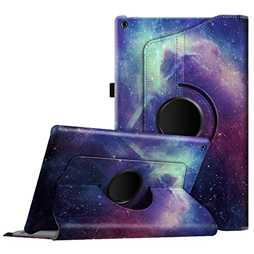 Fintie Case for All-New Amazon Fire HD 10 Tablet (Compatible with 7th and 9th Generations, 2017 and 2019 Releases) - 360 Degree Rotating Stand Protective Cover with Auto Sleep Wake, Galaxy